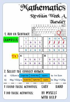 Interactive worksheet Revision Week A - Math - Tuesday