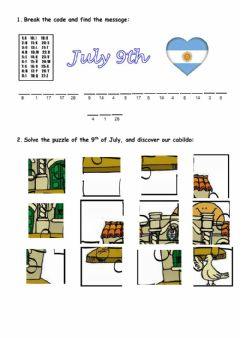 Interactive worksheet 9th of July
