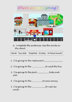 Interactive worksheet Where are you going 1