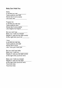 Interactive worksheet Baby can I hold you tonight - Tracy Chapman