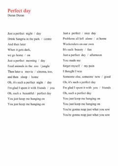 Interactive worksheet Perfect day
