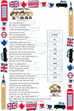 Interactive worksheet One thing (One Direction)