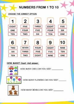 Interactive worksheet Numbers from 1 to 10