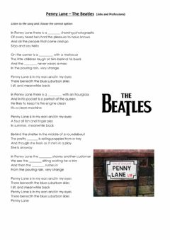 Interactive worksheet Penny Lane by The Beatles - Jobs