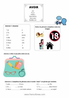 Interactive worksheet Verbe AVOIR