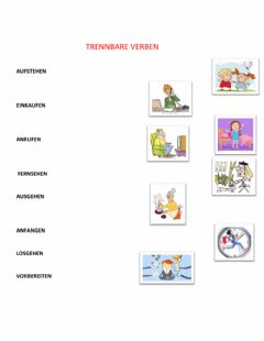 Interactive worksheet Trennbare verben