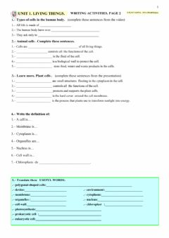 Interactive worksheet LIVING THINGS. Page 2