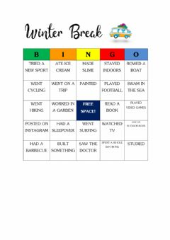 Interactive worksheet Winter Break Bingo