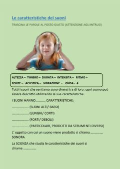 Interactive worksheet CARATTERISTICHE SUONI-DRAG AND DROP