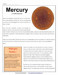 Interactive worksheet Mercury article and Questions