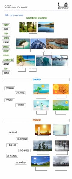 Interactive worksheet Landscape features, Seasons and Weather