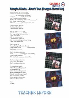 Interactive worksheet Simple Minds - Don't You (Forget About Me)