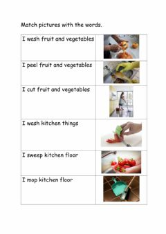 Interactive worksheet Kitchen Hand Sentences and Pictures Matching Activity