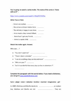Interactive worksheet Anne with an E trailer