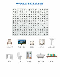 Interactive worksheet Objects in the house - Wordsearch