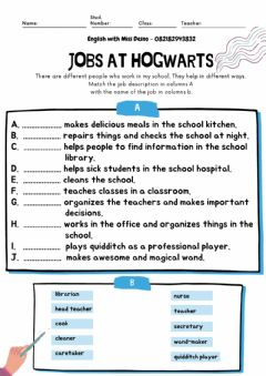 Ficha interactiva Jobs at harry potter