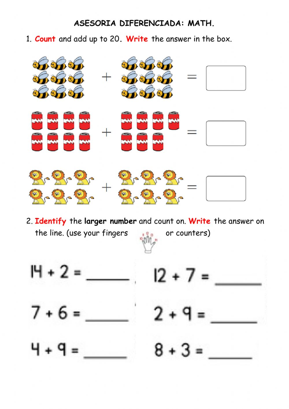 Addition up to 20 worksheet