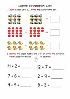 Interactive worksheet Addition up to 20