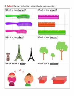 Interactive worksheet Comparing measurement