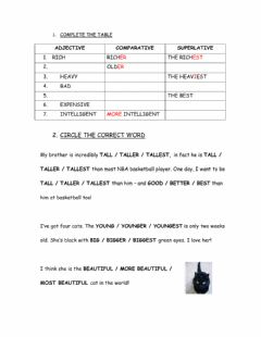 Interactive worksheet Comparatives Superlatives