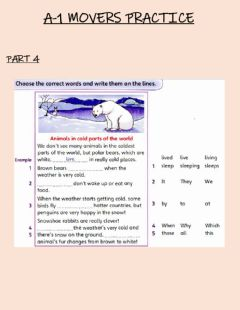 Interactive worksheet Reading and Writing movers practice part 4
