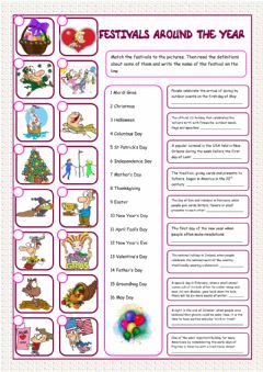 Interactive worksheet Celebrations