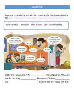 Interactive worksheet Bedtime