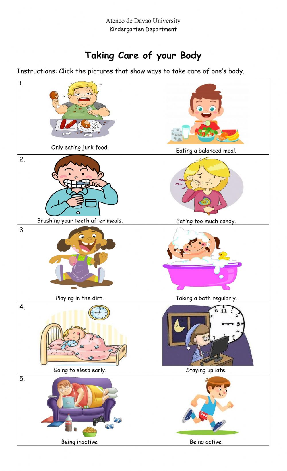 Taking Care Of Your Body Interactive Worksheet