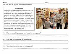 Interactive worksheet Grocery Store Reading Comprehension