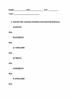 Interactive worksheet Decimal Fractions