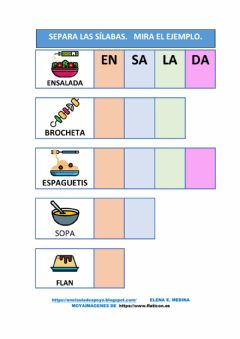 Interactive worksheet Separa sílabas