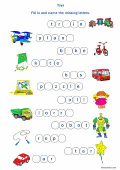 Interactive worksheet Toys. Fill in the missing letters