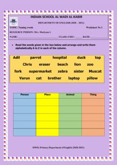 Interactive worksheet Naming words