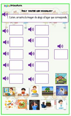 Interactive worksheet Daily routines and vocabulary