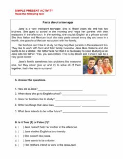 Ficha interactiva Facts about a teenager