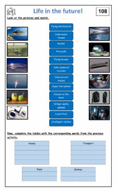 Interactive worksheet Life in the future