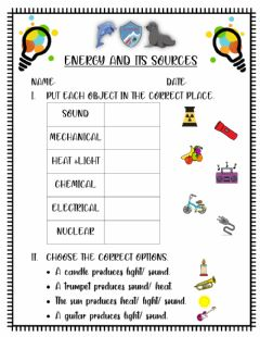 Interactive worksheet Energy and its sources