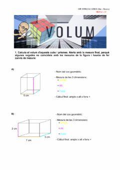 Interactive worksheet Volum del cub i del prisma
