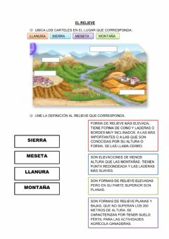 Interactive worksheet El relieve