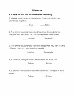 Interactive worksheet Mixtures: Solution or Suspension