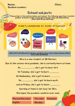 Interactive worksheet Days and School Subjects