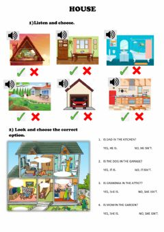 Interactive worksheet Parts of the house - family