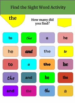 Interactive worksheet Find the Sight Word