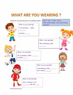 Interactive worksheet What are they wearing?