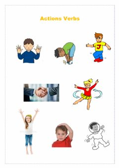Interactive worksheet My body and action verbs