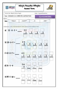 Interactive worksheet Classwork- ago 14- division as a repeated subtraction