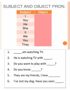 Interactive worksheet Pronouns as subject-object