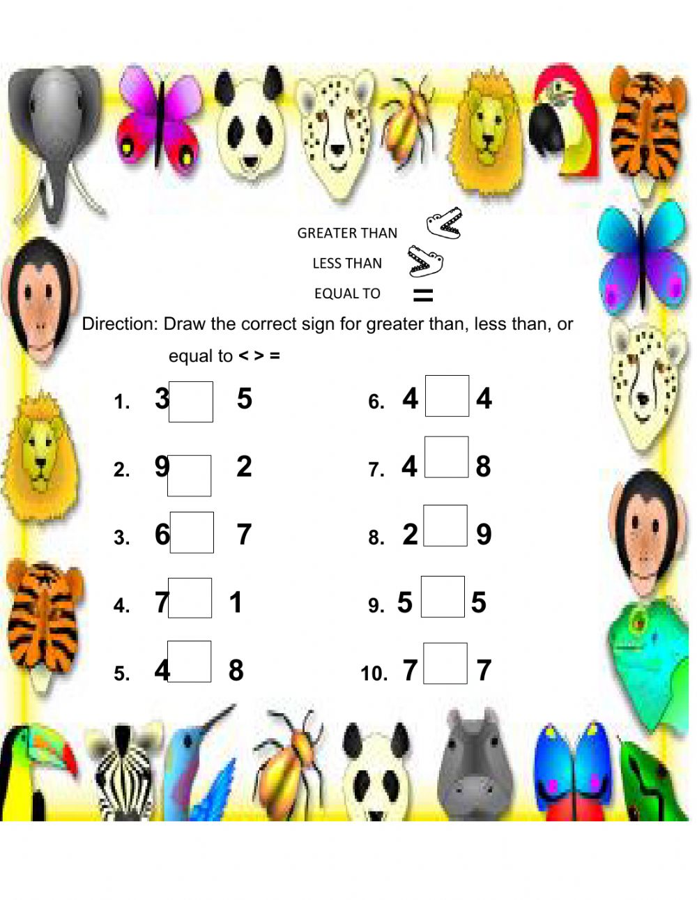 Greater Than Less Than And Equal To Worksheet - View Kindergarten Greater Than Less Than Worksheets With Answers Pictures