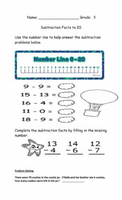 Interactive worksheet Subtraction Facts to 20