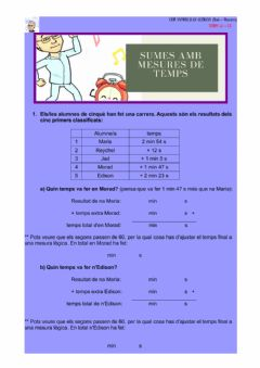Interactive worksheet Sumes amb mesures de temps